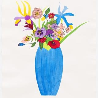 Blue Vase on Antique Paper art for sale