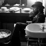 Elliott Landy, The Band. Levon Helm, backstage Fillmore East, NYC, 1969.