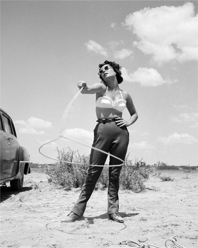 "Frank Worth, Elizabeth Taylor with Lasso Set of ""Giant"""