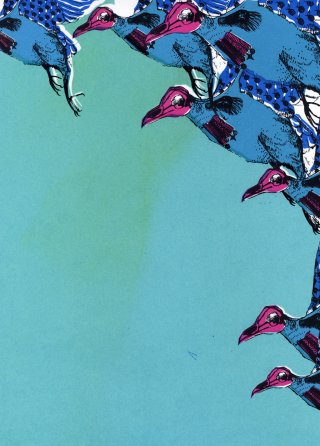 Olenna  Mokliak War Birds in Aqua Blue art for sale